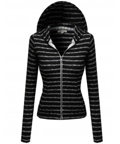 Women's Casual Trendy Rib Zip Up Hoodie
