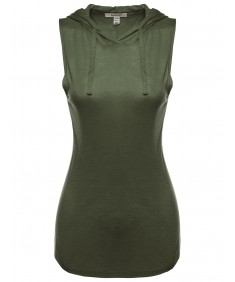 Women's Hooded Sleeveless Semi-Sheer Top