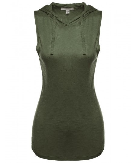Women's Hooded Sleeveless Semi-Sheer Top