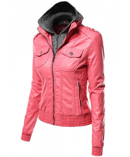 Women's Zip-Up Biker Bomber Hoodie Faux Leather Jackets