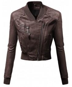 Women's Varsity Letterman Neckline Crop Bike Rider Faux Leather Jackets