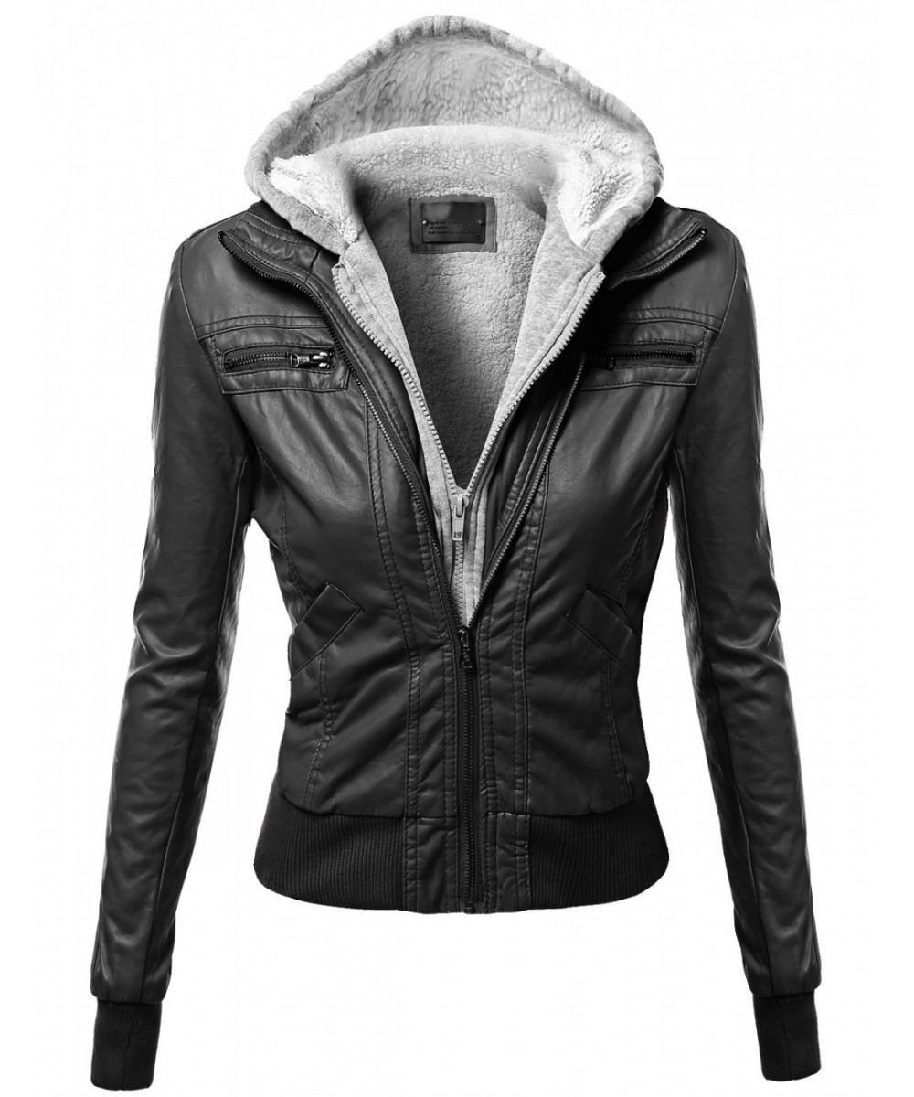 Women's Warm Faux Leather Sherpa Lining Hooded Biker Moto Jacket ...