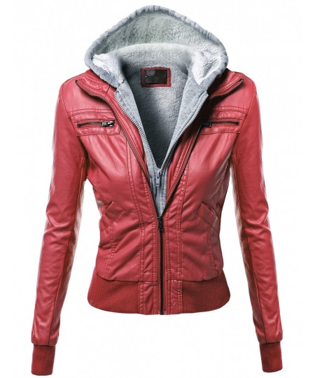 Women's Hoodie Zip Up Biker Sherpa Lining Faux Leather Jackets