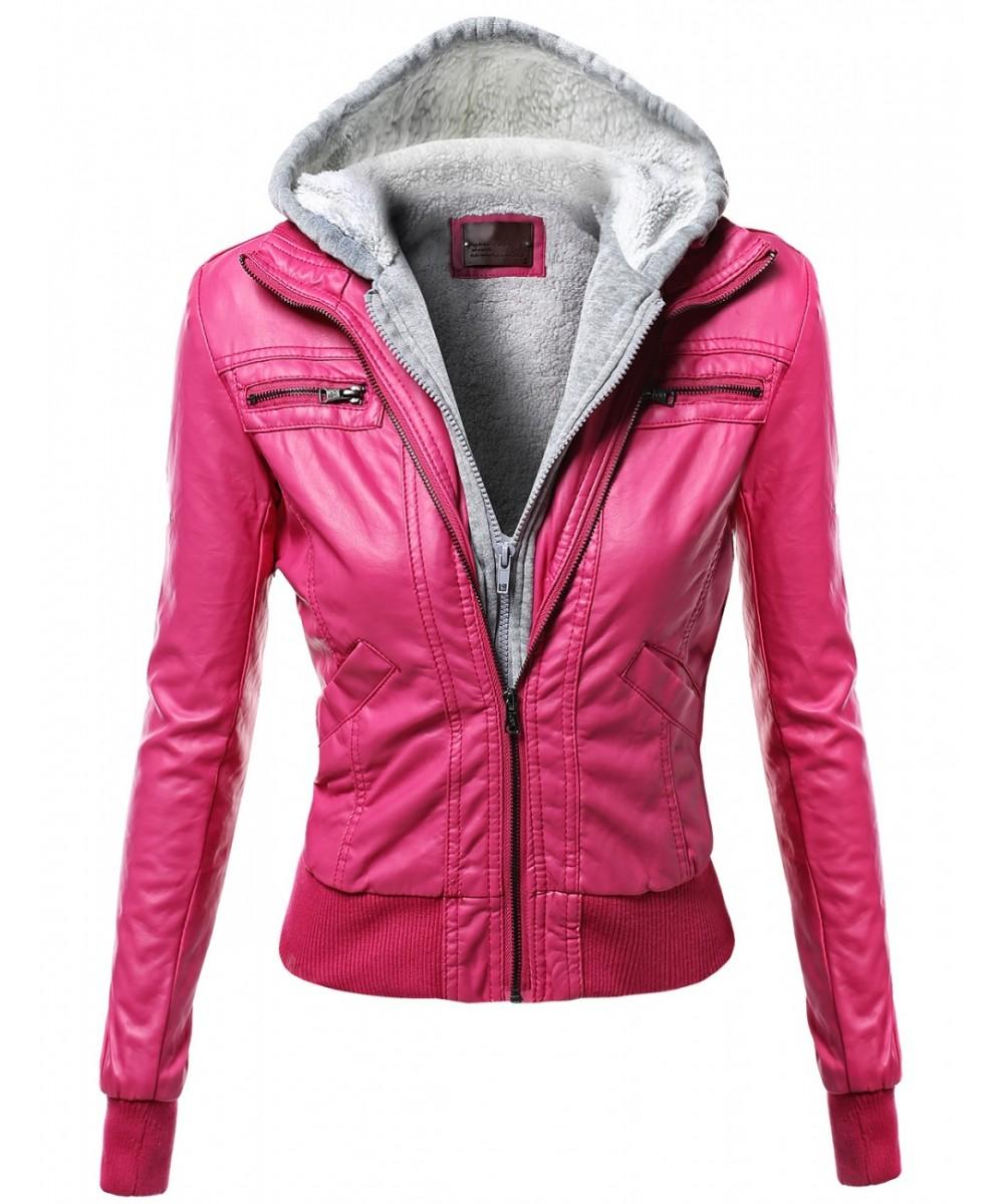 Women's Warm Faux Leather Sherpa Lining Hooded Biker Moto ...