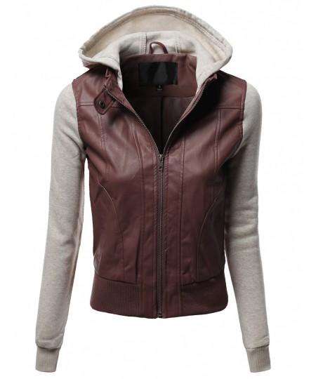 Women's Hood Sleeve Fleece Contrast Bike Rider Faux Leather Jackets