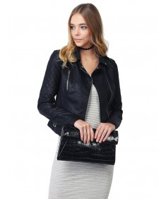 Women's Quilted Sleeve Classic Rider Style Faux Leather Jackets