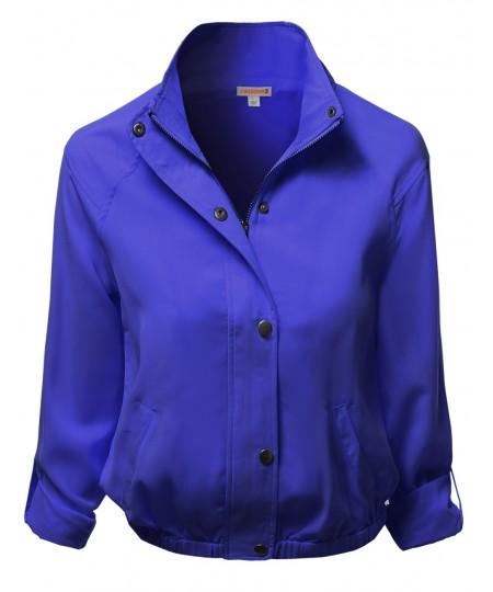 Women's Solid Zip Up Woven Jackets