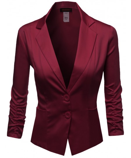 Women's Basic Solid Color Sherring Sleeve Boyfriend Blazer Made In Usa