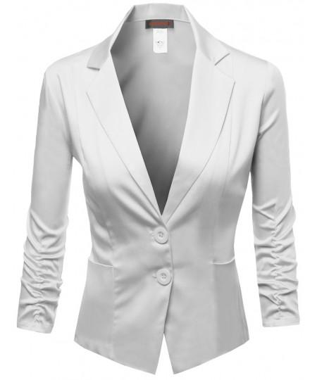 Women's Basic Solid Color Sherring Sleeve Boyfriend Blazer Made In Usa