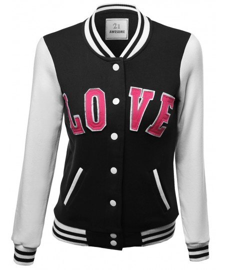 Women's Casual Baseball Snap Button Down Fleece Jacket