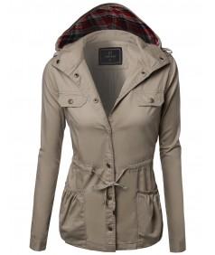 Women's Hooded Drawstring Military Jacket Parka Coat Outerwear