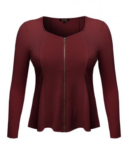 Women's Good Strechy Princessline Scoop Neck Cardigan Jacket