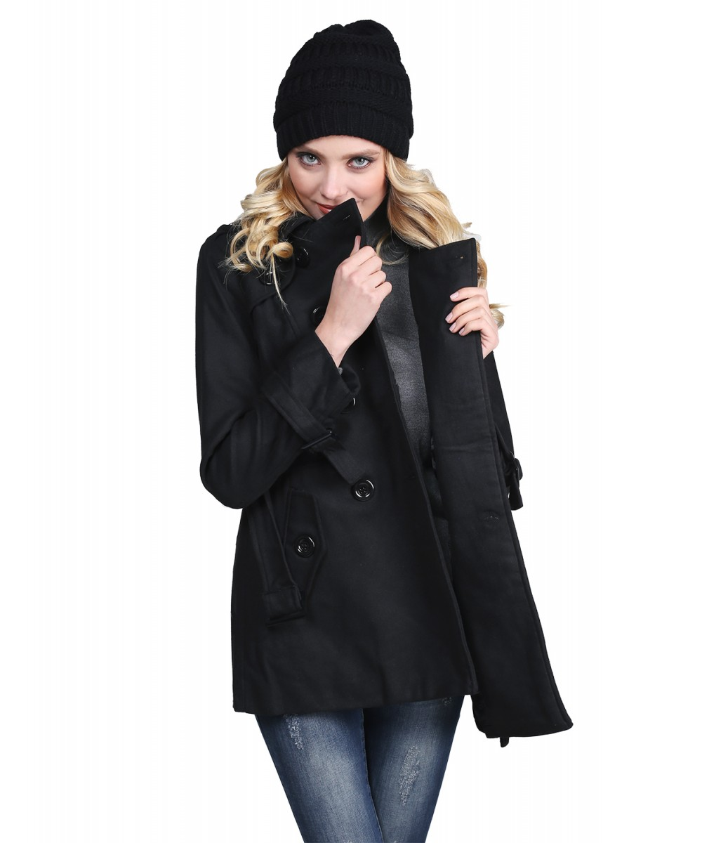 Women's Classic Fit Double Breasted Belt Trench Coat ...