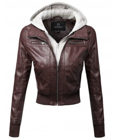 Women's Faux Leather Bomber Military Style Hooded Jacket