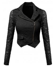 Women's Gorgeous Lace Delicate Short Blazer Jacket With Zipper Closure