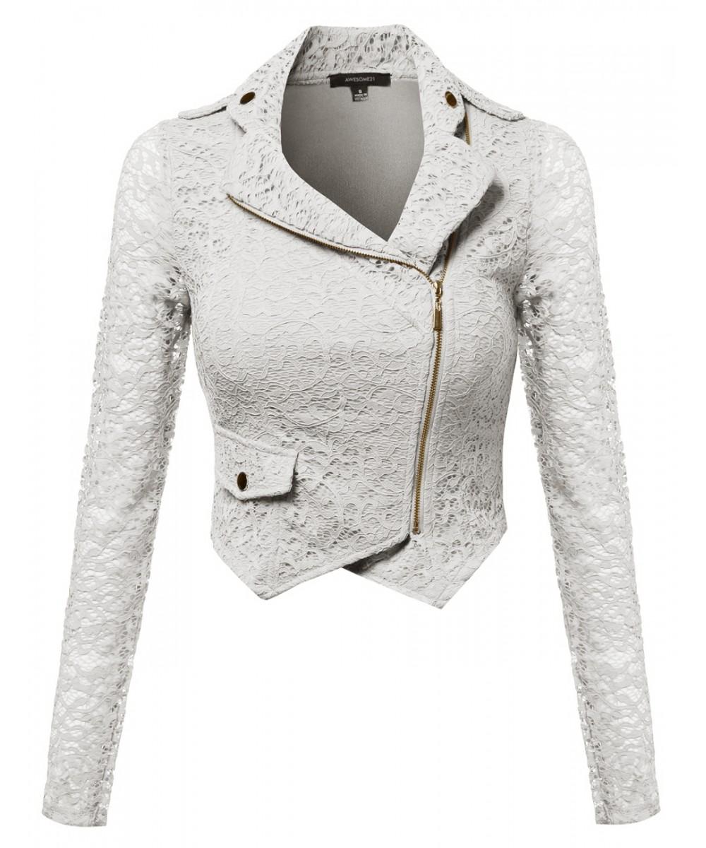 38fae90699 Women's Gorgeous Lace Delicate Short Blazer Jacket With Zipper Closure