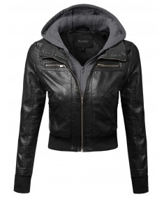 Women's Faux Leather Bomber Military Style Hooded Jacket Plus Size
