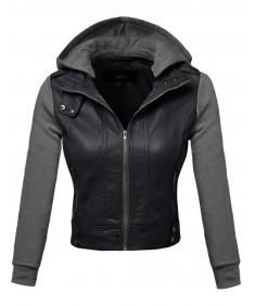 Women's Faux Leather Fleece Contrast Detachable Hooded Jacket