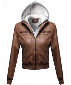 Women's Faux Leather Bomber Jacket Fur Lining With Various Colors