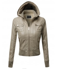 Women's Fine Quality Faux Leather Bomber Jacket With Detachable Hood