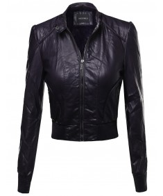 Women's Fine Quality Quilted Faux Leather Moto Jacket