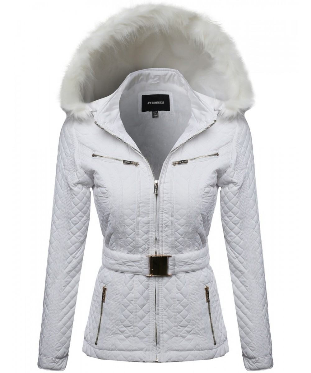 Quilted Fur Lined Lux Gold Zippered Parka - FashionOutfit.com
