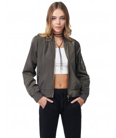 Women's Solid Long Sleeves Zipper Closure Pocket Army Flight Bomber Jacket