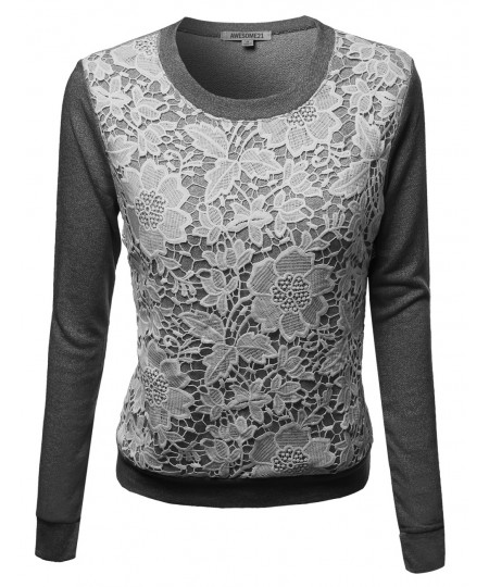 Women's Long Sleeve Floral Crochet Overlay French Terry Top