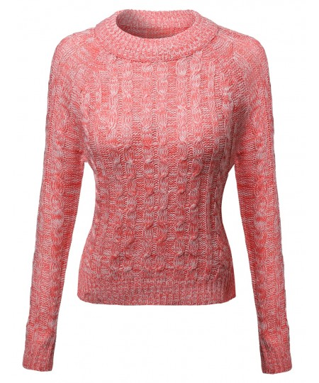 Women's Crew Neck Cable Knit Sweater With Adorable Colors