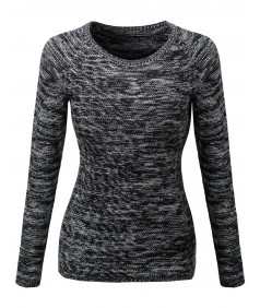 Women's Marled Loose Knit Sweater With Adorable Colors
