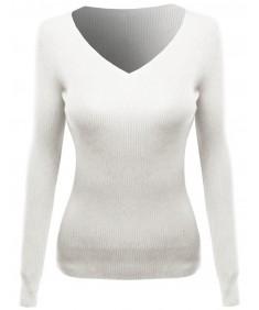 Women's Long Sleeve V-Neck Ribbed Sweater