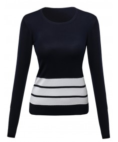 Women's Contemporary Textured Bold Stripe Sweater