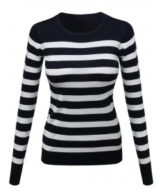 Women's Comtemporary Textured Bold Stripe Sweater
