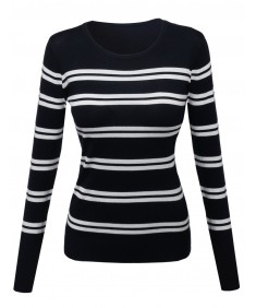 Women's Comtemporary Textured Bold Stripe Sweater