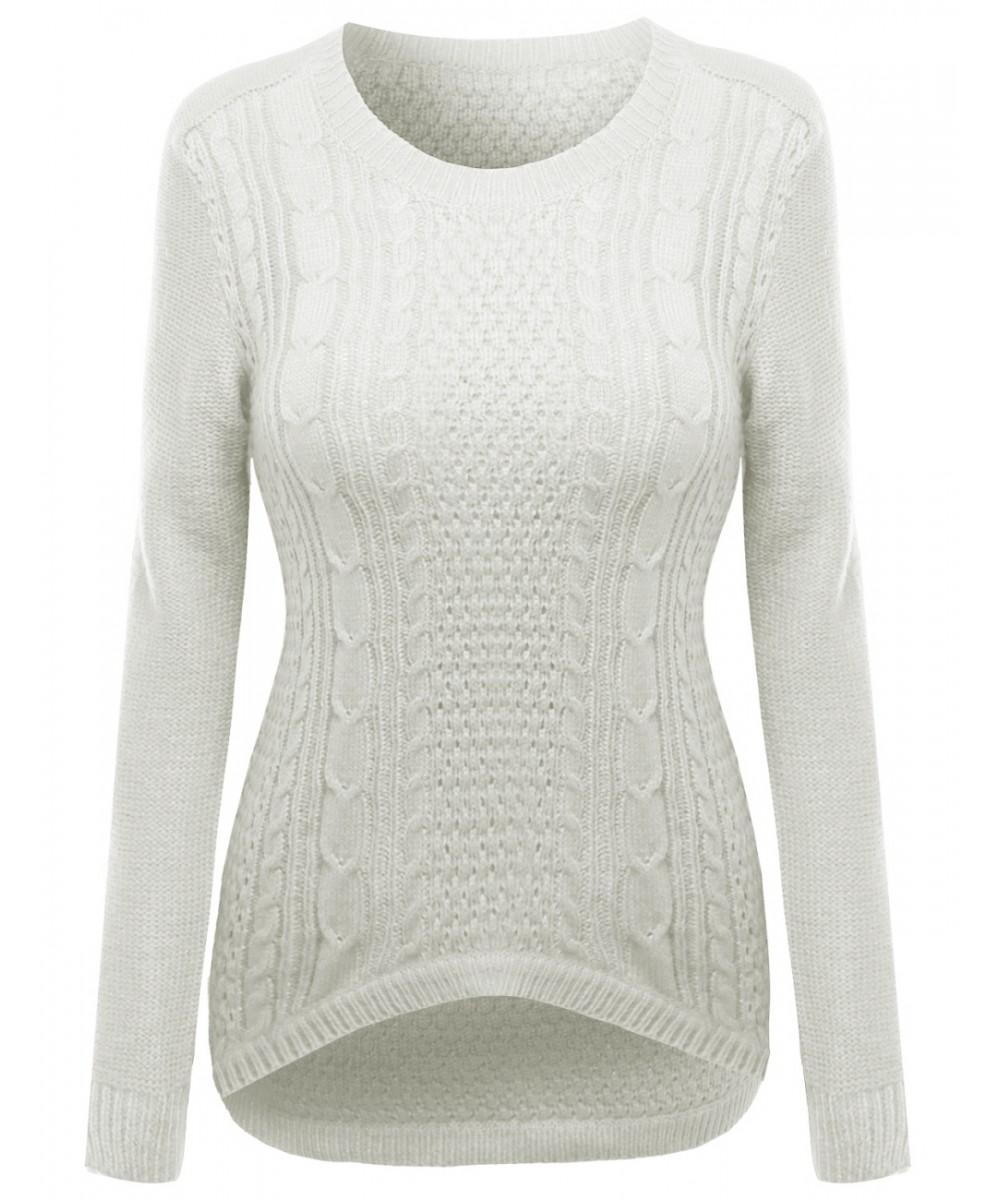 Women's 27 Inch Long Cable Knit Sweater With Adorable Colors ...