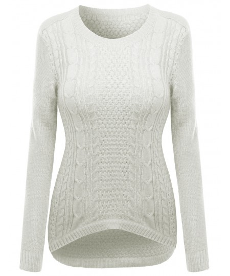 Women's 27 Inch Long Cable Knit Sweater With Adorable Colors
