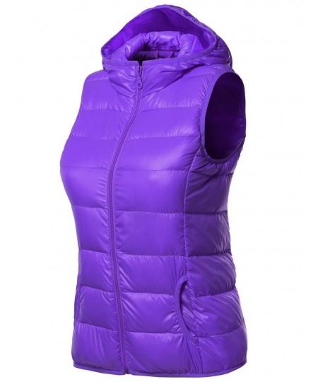 Women's Lightweight Packable Zip Puffy Down Vest