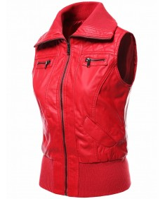 Women's Highneck Biker Bomber Vest Faux Leather Jackets