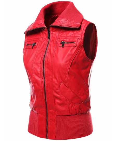 Women's Highneck Biker Bomber Vest Faux Leather Jackets