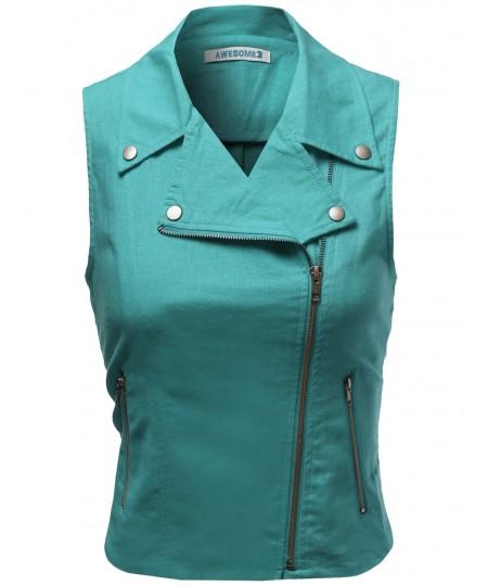 Women's Linen Rayon Motor Rider Style Jacket Vests