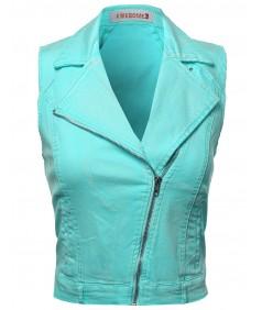 Women's Washed Sleeveless Rider Style Jacket Vests