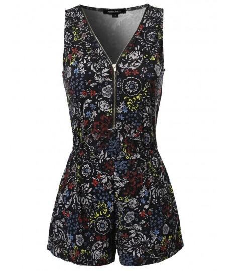 Women's Floral Design Printed Sleeveless Zipper Front Romper