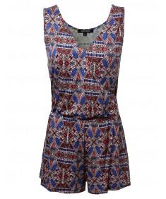 Women's Sleeveless All Over Print Knit Romper Jumpsuit