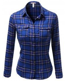 Women's Long Sleeve Checkered Button Down Plaid Shirt Top Blouses