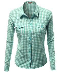 Women's Basic Slim Fit Roll Up Sleeve Plaid Shirt Blouses