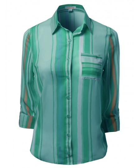 Women's Roll Up Stripe Pattern Button Down Shirt Blouses
