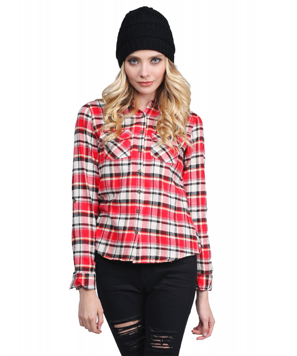 Women 39 s casual plaid check flannel roll up sleeve shirt for How to roll up sleeves on women s dress shirt