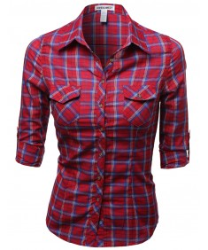 Women's Slim Fit Line Twill Plaid Checker Rolled Up Blouse Top