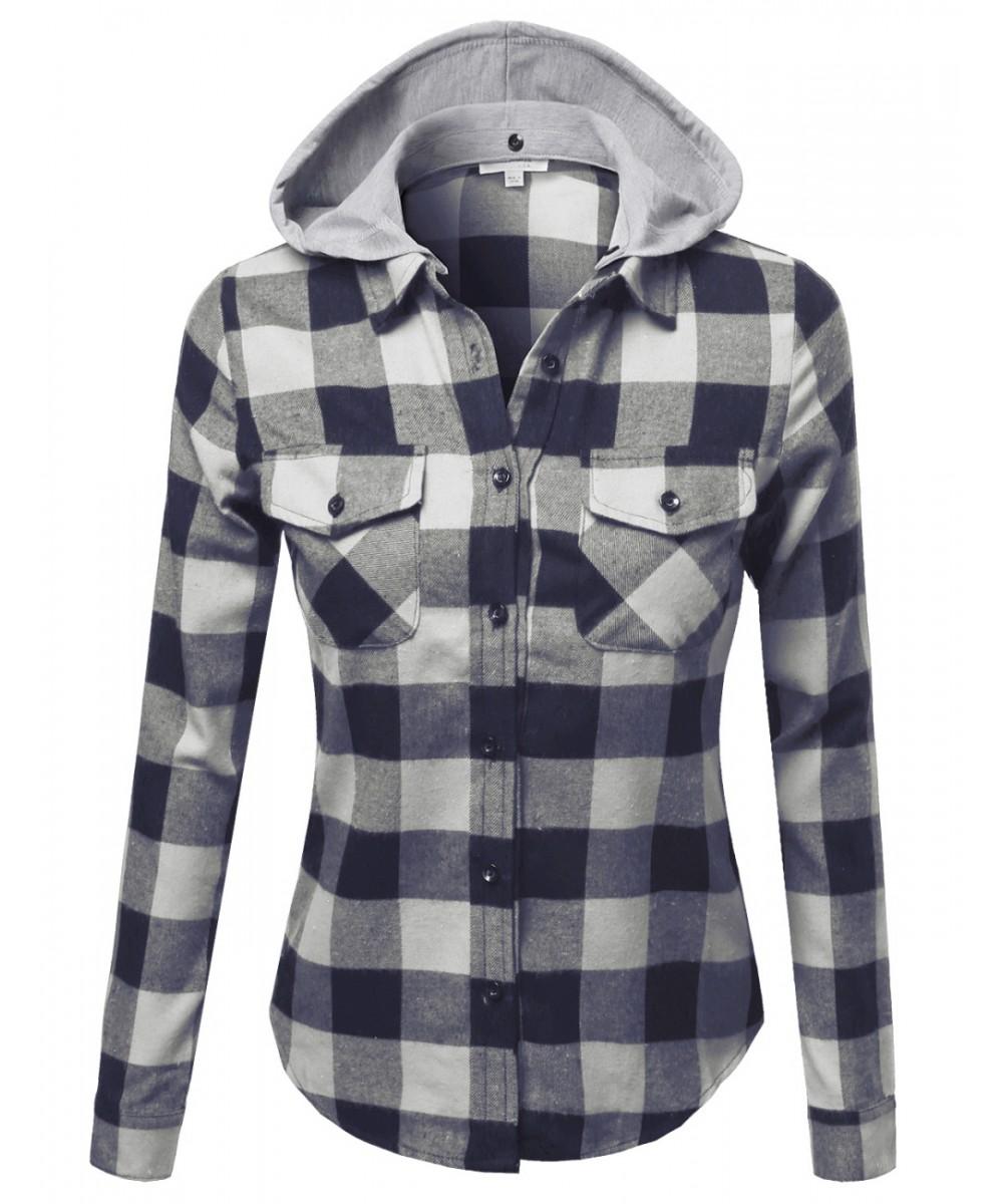 Women 39 s casual soft plaid check detachable hood flannel for Ladies soft flannel shirts