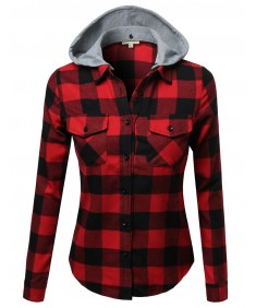 Women's Super Soft Plaid Checker Detachable Hood Flannel